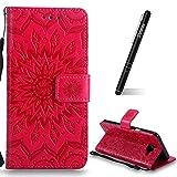 Slynmax Samsung Galaxy A5 2016 Leder Hülle,Samsung Galaxy A5 2016 Handyhülle Rot Leder Tasche Handyhülle Flip Cover Schutzhülle Lederhülle Ständer Handytasche Wallet Case für Samsung Galaxy A5 2016