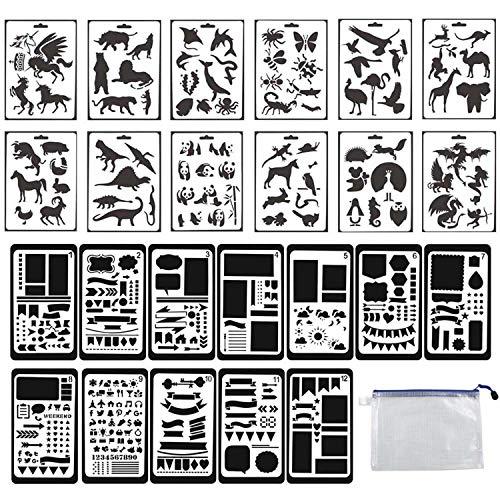 Guwheat Malerei-Journal-Schablonen, 12 Stück Tier-Schablonen und 12 Stück Geometrie-Schablonen, Vorlagen-Zeichenwerkzeuge für Scrapbook/Planer/Journal/Karte/Graffiti mit Aufbewahrungstasche