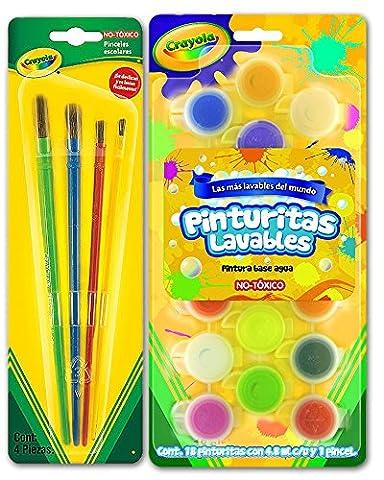 Crayola Washable Kids' Paint 18 Colors w/ Paint Brush + Paint Brush Set of 4 - Arts, Crafts, School Projects - Bundle
