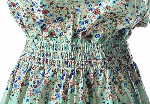 Babyonline Damen Party Swing Blumen Sommer Chiffon Kleid Kurz Cocktail Mini Schwarz-Weiß