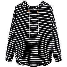 VJGOAL Mujeres otoño Plus Size Moda Raya con Bolsillos Casual Sweatshirt Manga Larga Crop Jumper Pullover