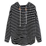 VJGOAL Mujeres otoño Plus Size Moda Raya con Bolsillos Casual Sweatshirt Manga Larga Crop Jumper Pullover Tops(L,Negro)