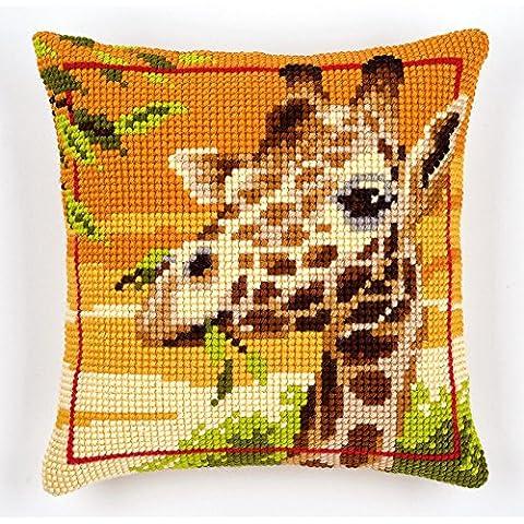 Vervaco - Cuscino a punto croce, motivo giraffe, multicolore