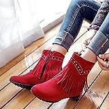 ZQ@QX Herbst und Winter Leiter der modischen Stiefeln wilden Seite, kurze barrel Stiefel Frauen Stiefel, rot, 49 erhöhen