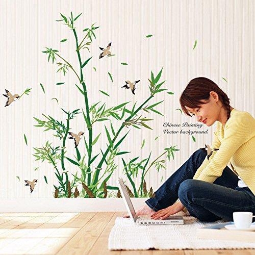Kuke Wandtattoo Bambus Muster Aufkleber DIY Entfernbare Wandaufkleber Fensterbilder für Eingang TV Sofa Hintergrund...
