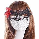 Maschere Maschera viso visiera guardia del domino fronte falso Moda fiori rossi neri pizzi pipistrelli sono sexy
