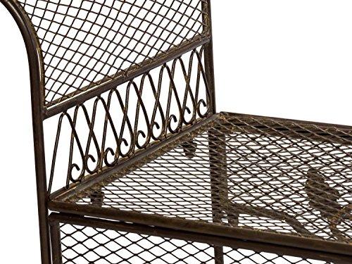 Nostalgie Gartenbank 134cm Metall Bank Garten Antik-Stil Gartenmöbel braun - 3