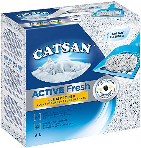 Catsan Katzenstreu Klumpstreu Active Fresh mit Aktivkohle und Frischeduft, 2 Kartons (2 x 8l)