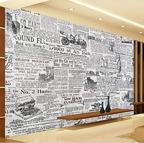 Fototapete 3D Effekt Tapete Retro Schwarzweiss-Zeitung Vliestapete 3D Wallpaper Moderne Wanddeko Wandbilder (Zeitung Junge Hats)