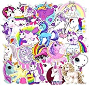 50 Pieces Set Unicorn Stickers Cartoon Sticker for Laptop Skateboard Luggage Waterproof PVC Decals