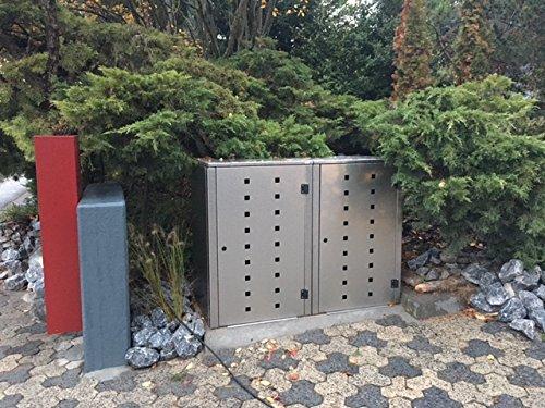 Mülltonnenbox Edelstahl, Modell Eleganza Quad8, 240 Liter als Zweierbox - 2