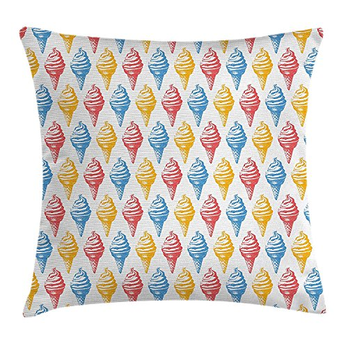 ow Pillow Cushion Cover, Ice Cream Cones 50s Time Colored Drawings with Abstract Retro Like Design Image, Decorative Square Accent Pillow Case,Multicolor 18x18inches ()