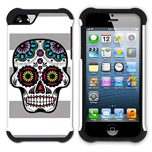 Graphic4You Mexikanische Zuckerschädel Tod Linien Muster (Wasserblau) Hart + Weiche Kratzfeste Hülle Case Schale Tasche Schutzhülle für Apple iPhone SE / 5 / 5S Grau
