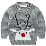 Jungen Weihnachtspullover Rentier Strickjacken Gestrickt Strickpullover Kinder Jumper, Grau 1-2...
