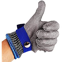 Azul seguridad a prueba de cortes Stab resistente protección Nivel 5de alto rendimiento Guante de carnicero de malla metálica acero inoxidable Talla S