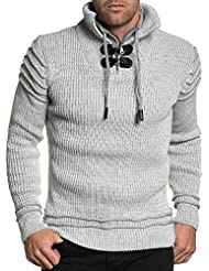 BLZ jeans - Pull homme blanc chiné double col montant