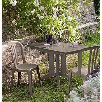 Salon de jardin: Table VEGA taupe + 2 chaises MIAMI Bistrot ...