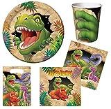 Geburtstagsdeko Dinosaurier (40 Teile) für 8 Jungs (Teller, Becher, Servietten, Einladungen & Partytüten)