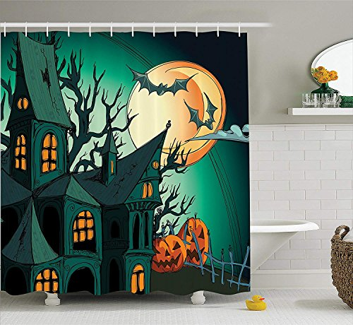(LZHsunni88 Halloween Decorations Shower Curtain Set by, Haunted Medieval House Theme Cartoon Bats in Twilight Gothic Fiction Spooky Art, Bathroom Accessories, 84 inches Extralong, Orange Teal)
