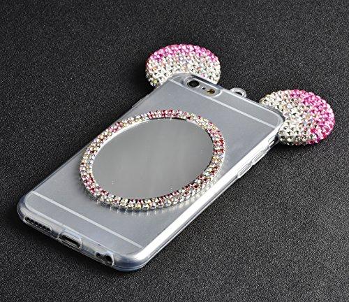 iPhone 6s Plus Hülle, iPhone 6 Plus Hülle, Vandot Schutzhülle iPhone 6s Plus / 6 Plus Case Handmade Diamant Bling Handyhülle TPU Silikon Weich Soft Transparent Zurück Cover Crystal Glitzer Glänzend Ha Mickey Pink Rosa