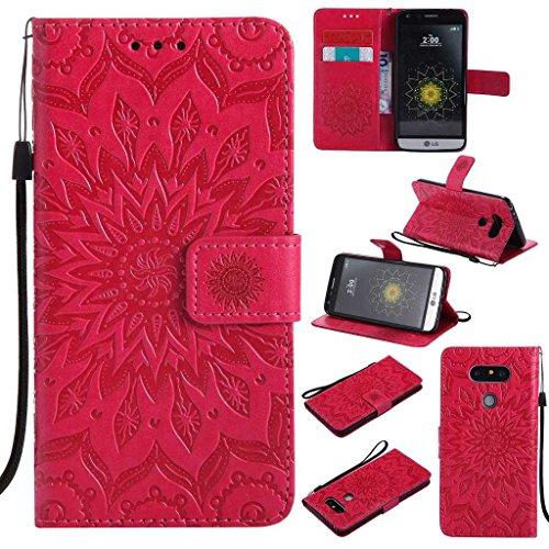 BoxTii LG G5 Hülle [mit Frei Panzerglas Displayschutzfolie], LG G5 Schutzhülle mit Kartenfächern, Premium Lederhülle für LG G5 (#5 Rot)