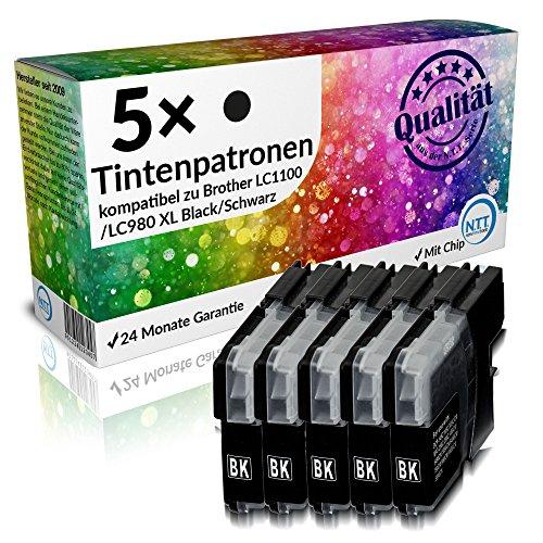 N.T.T.® 5 x Stück XL Druckerpatronen / Tintenpatronen kompatibel zu Brother LC1100BK / LC980BK Schwarz / Black, Sparset