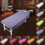 Cosmétique Salon Drap de lit Housse Spa Massage Traitement Table de lit Motif feuilles avec trou (9couleurs) 80cm*190cm #1
