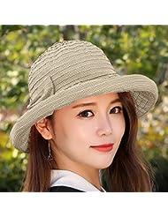 LKMNJ La Sra. Sun Grid Sombreros Sombreros de algodón Pajarita engastado Playa decoración ,caqui