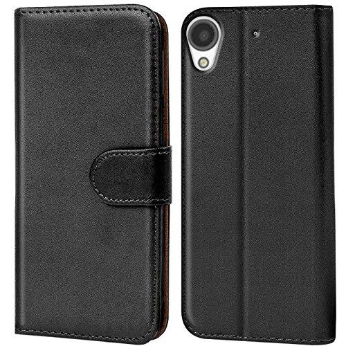 Verco Desire 530 Hülle, Handyhülle für HTC Desire 530 Tasche PU Leder Flip Case Brieftasche - Schwarz