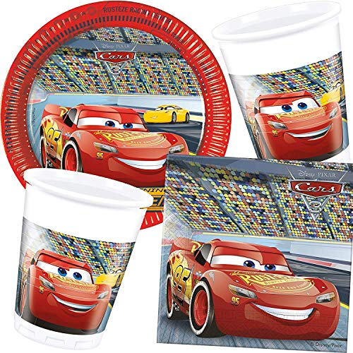 Procos/Carpeta 77-TLG. Party-Set * Cars 3 * mit Teller + Becher + Servietten + Deko | Motto Geburtstag Kinder Kindergeburtstag Disney Auto Rennauto Lightning McQueen (Rennen-auto-teller)
