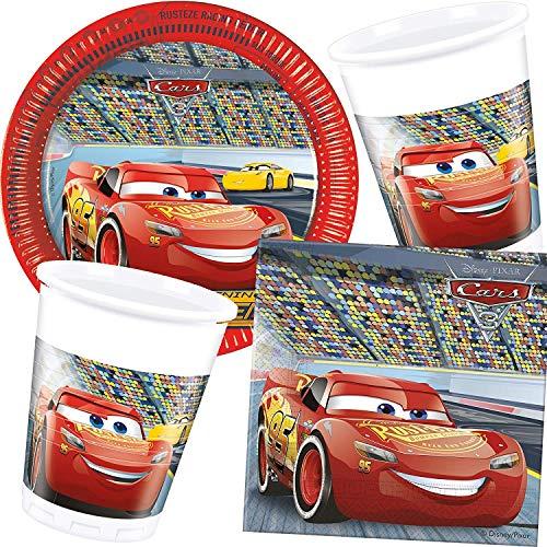 G. Party-Set * Cars 3 * mit Teller + Becher + Servietten + Deko | Motto Geburtstag Kinder Kindergeburtstag Disney Auto Rennauto Lightning McQueen ()
