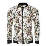 Manadlian [New Arrival Design] Frühling Herbst Winter Herren Männer Schlank Warm Sweatshirt Blumen gedruckt Mantel ReißverschlussJacke Rundhals Outwear (Weiß, L)