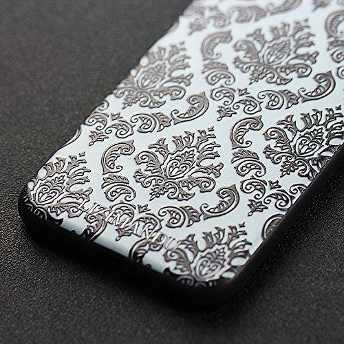 iPhone 7 Plus hülle,Lizimandu TPU 3D Handyhülle Muster Case Cover Für apple iphone 7 plus(Blaue Blume/Blue Flower) Spitze Blume/Lace Flower