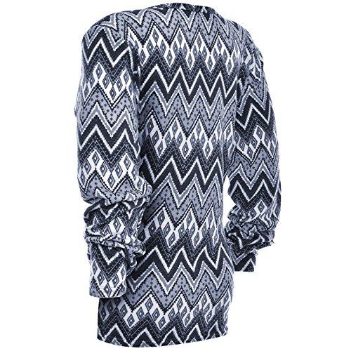 Damen Feinstrick Oversize Lang Langarm Bluse Übergrößen Long T Shirt Body 20964 Blau