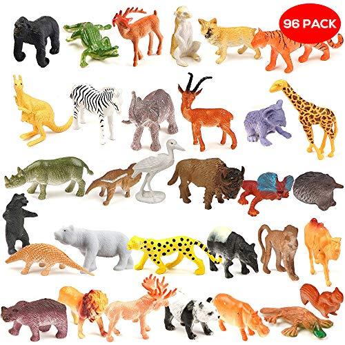 THE TWIDDLERS Juego de 96 Piezas de Mini Animales de la Jungla Variados - Figuras Animales Juguetes - Perfectos para Bolsas de Fiesta, premios, Detalles de Fiesta, Rellenos para Navidad y Mucho más.