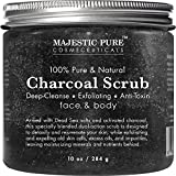 Majesticathletic Activated Charcoal Body Scrub And Facial Scrub Pure, 10 Oz Natural Skin Care Promotes Skin Whitening, Reduces Acne Scars