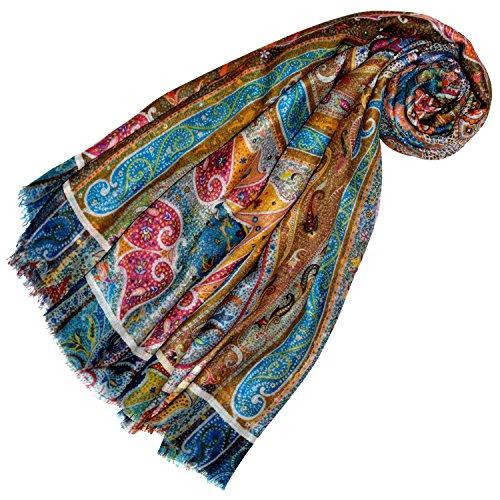 LORENZO CANA - High End Luxus XXL Tuch 50% Kaschmir 50% Seide aufwändig mehrfarbig bedruckt 140 x 140 Pashmina Umschlagtuch Schaltuch Schal Stola bunt (Seide Schal Damen Italienischer)