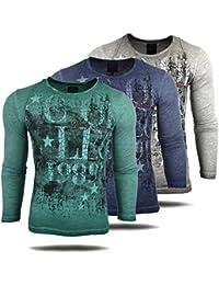 Herren Langarm Shirt T-Shirt Longshirt Basic dezent verwaschen A1-RN10108, Größe:L, Farbe:Grün