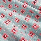 Stoff Baumwollstoff Meterware hellblau Blumen rosa Cutty
