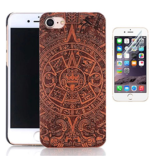Coque iPhone 6s Plus, Sunroyal® Coque pour iPhone 6 Plus Bois Véritable + PC Bumper Dur Hard Housse Etui Hybride en Bois Naturel Sculpté Wood Case Cover de Protection pour Apple iPhone 6 Plus, iPhone  Bois-07
