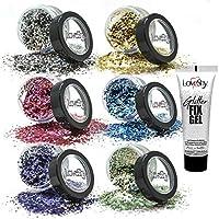 LoveShy Bio degradable Sparkle Cosmetic Glitter (7 Pack) Vegan bio-degradable Glitter, eco glitter, body glitter, face glitter, includes glitter fix glue, glitter fix gel