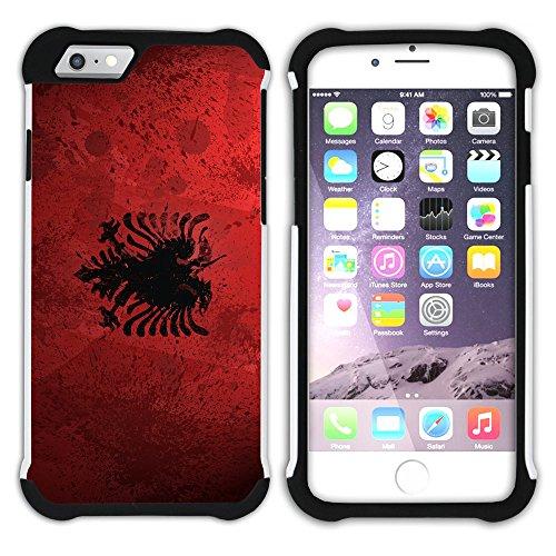 Graphic4You Albanien Albanisch Flagge Hart + Weiche Kratzfeste Hülle Case Schale Tasche Schutzhülle für Apple iPhone 6 / 6S Design #4