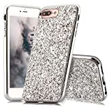 HUDDU iPhone 7 Plus Hülle Glitzer iPhone 8 Plus Handyhülle Bling Glitter Case Hart PC Bumper Hard Back Cover Abdeckung Sparkles Luxus Schutzhülle für iPhone 8 Plus Silber