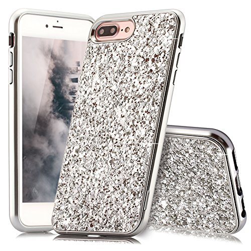 HUDDU iPhone 7 Plus Hülle Glitzer iPhone 8 Plus Handyhülle Bling Glitter Case Hart PC Bumper Hard Back Cover Abdeckung Sparkles Luxus Schutzhülle für iPhone 8 Plus Silber