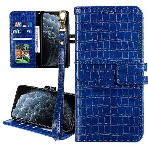 Nadoli Ledertasche für Xiaomi Rotmi 7A,Krokodil Muster Luxus Männer Frauen Pu Standfunktion Flip Handy Schutzhülle Brieftasche mit Kartenhalter und Handschlaufe,Blau