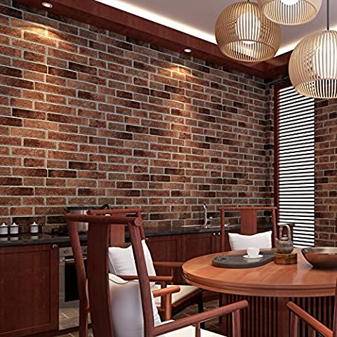 YC Chinese culture stone wallpaper brick red brick faux brick brick wallpaper and retro restaurant dining room wallpaper , dark brown brick 8015