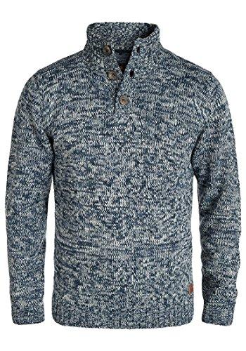 Blend Teno Herren Winter Pullover Strickpullover Troyer Grobstrick mit Knopfleiste, Größe:L, Farbe:Navy (70230)