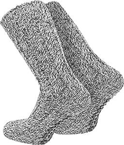 2 Paar ABS Stopper-Norweger-Socken Farbe Grau Größe 35/38