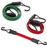 Amazon Basics Tendeurs plats, 80cm, 60cm, 30cm - Vert/Rouge (Lot de 3)