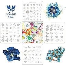CiCi y Sisi Nail Art Stamping Image Placas Kit capas flores placa plantilla de manicura 4piezas